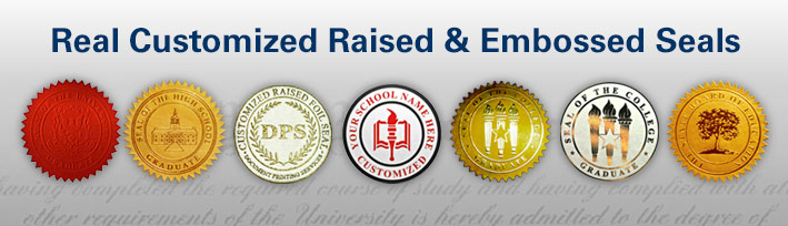 Real Customized Raised and Embossed Seals to place on fake diplomas