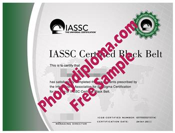 IASSC Certified Black Belt Fake Diploma from PhonyDiploma Cert-IASSC