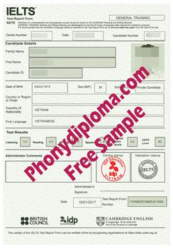 Fake IELTS Diploma from PhonyDiploma Cert-IELTS