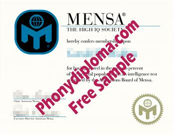 MENSA Fake Diploma from Phonydiploma Cert-MENSA