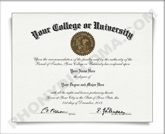 Fake USA College or University Diploma Arched Name / Top Emblem