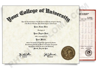 Fake USA College or University Diploma and Transcripts - Arched Name / Right Emblem
