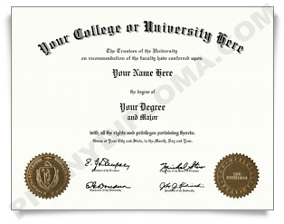 Fake USA College or University Diploma - Arched Name / Two Emblems