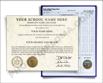 Fake District of Columbia College Diploma and Transcripts COL DC D&T
