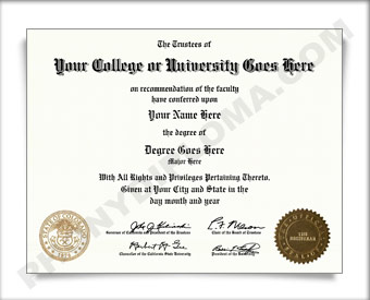 Fake USA College or University Diploma Straight Name / Two Emblems
