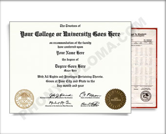 Fake USA College or University Diploma and Transcripts - Straight Name / Two Emblems