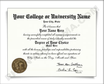 Fake USA College or University Diploma - Straight Name / Left Emblem