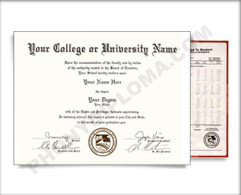 Fake USA College or University Diploma and Transcripts - Arched Name / Bottom Emblem