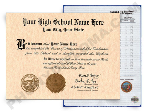 Fake Diploma and Transcripts High School