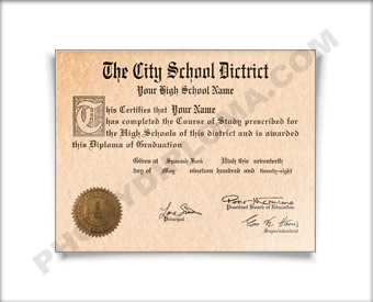 Fake High School Diploma Graduation 1960s HS 60s Dip