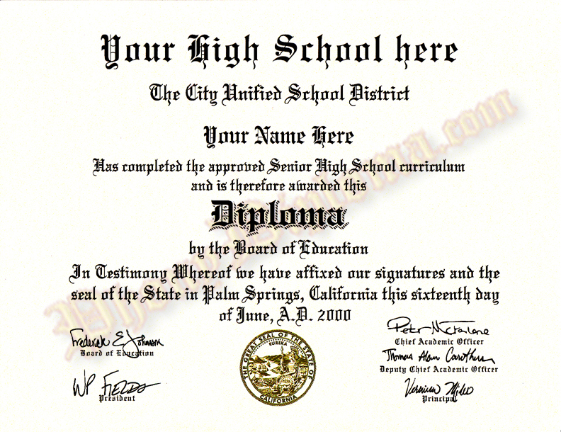 phony high school diploma