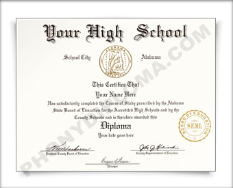 Fake Alabama High School Diploma HS AL