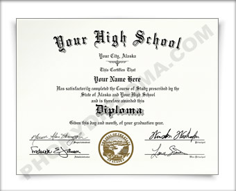 Fake Alaska High School Diploma HS AK