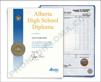 Alberta Canada Fake High School Diploma and Fake Transcripts HS Can Al B&T