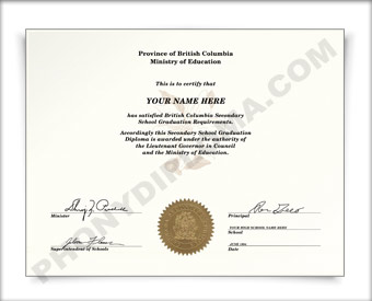 Fake British Columbia Canada Secondary School Diploma HS Can Brit D