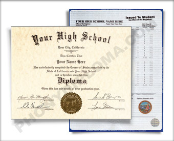 Fake Washington High School Diploma and Transcript