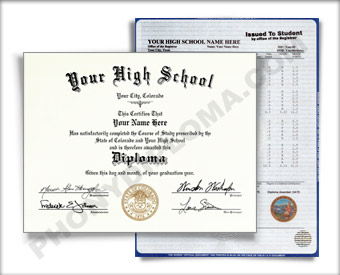 Fake Colorado High School Diploma and Transcripts HS COL 1 D&T