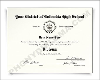Fake District of Columbia High School Diploma HS DC