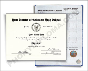 Fake District of Columbia High School Diploma and Transcript HS N DC D&T