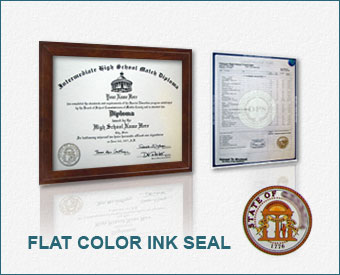 Standard Package - High School Diploma & Transcripts, Actual Design, Full-Color Ink Emblem HS ADM+T - Std