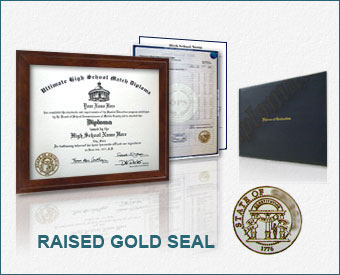 Ultimate Package - High School Diploma & Transcripts, Actual Design, Raised Gold Emblem & Folder HS ADM+T - Ult