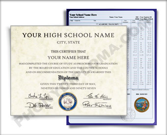 Fake High School Diploma and Transcripts, Southeast Design ...