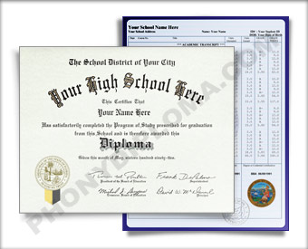 Fake High School Diploma Graduation 2000s w/ Transcripts HS 2000s D+T