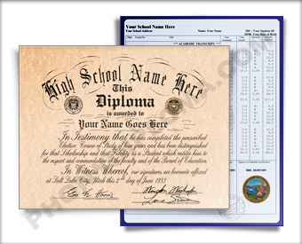 Fake High School Diploma Graduation 1950s w/ Transcripts HS 50s D+T