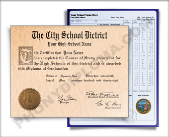 Fake High School Diploma Graduation 1960s w/ Transcripts HS 60s D+T