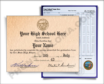 Fake High School Diploma Graduation 1970s w/ Transcripts HS 70s D+T