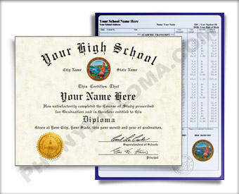 Fake High School Diploma and Transcript Design from the 1980s HS 80s D+T