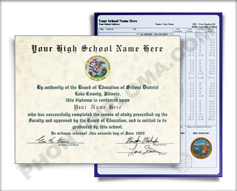Fake High School Diploma Graduation 1990s w/ Transcripts HS 90s D+T