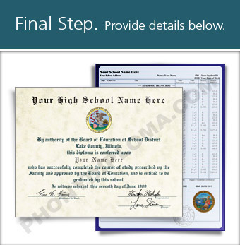 Fake High School Diploma and Transcript Design from the 1990s HS 90s D+T