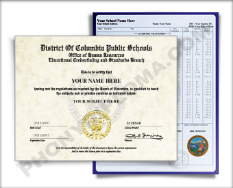 Fake District of Columbia High School Diploma and Transcript HS DC D&T