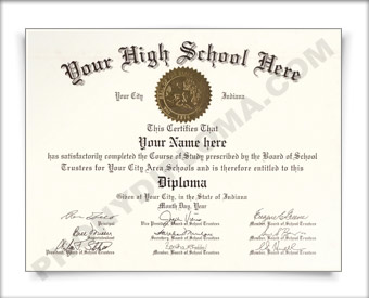 Fake Indiana High School Diploma HS IN