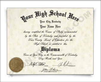 Fake Kentucky High School Diploma HS KY