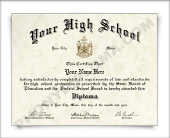 Fake Maine High School Diploma HS ME