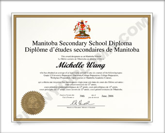 Manitoba Canada Fake Secondary School Diploma HS Can Mani D