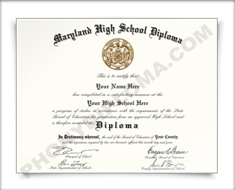Fake Maryland High School Diploma HS MD