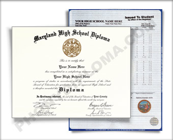 Fake Maryland High School Diploma and Transcript HS New Maryland D&T