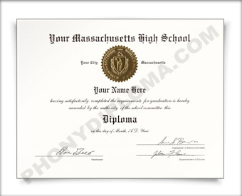 Fake Massachusetts High School Diploma HS MA