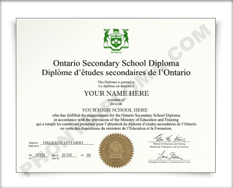 Ontario Canada Fake Secondary School Diploma HS Can Ont D