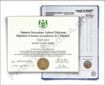 Ontario Canada Fake High School Diploma and Fake Transcripts HS Can On D&T