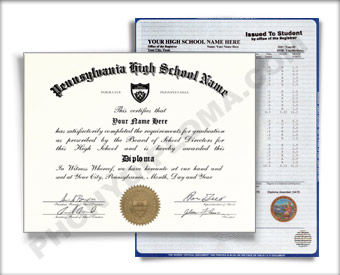 Fake Pennsylvania High School Diploma and Transcript
