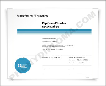 Quebec Fake Secondary School Diploma HS Can Que D