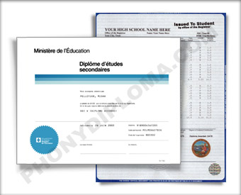Quebec Canada Fake High School Diploma and Fake Transcripts HS Can Q D&T