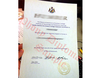 Humber College - Fake Diploma Sample from Canada