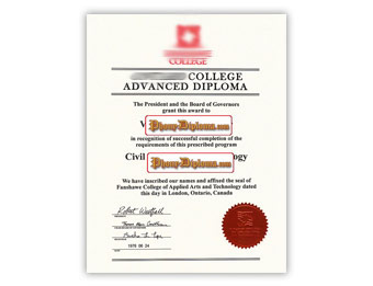 Fanshawe College - Fake Diploma Sample from Canada