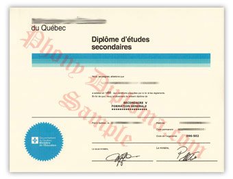 Ministere de l'Education du Quebec - Fake Diploma Sample from Canada