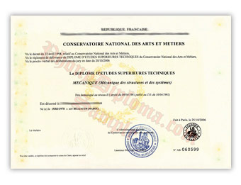 Conservatoire National Des Arts Et Metiers - Fake Diploma Sample from France